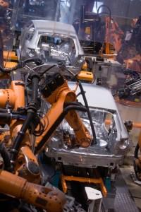 Audi fabriek Ingolstad, produktie A4,A3 en TT<Robots working in a carfactory