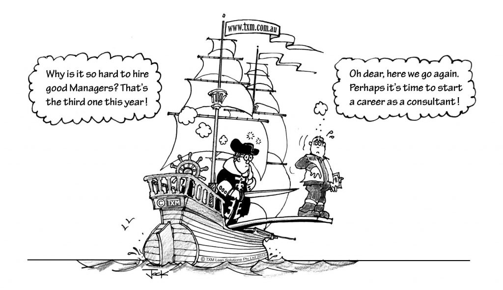 Fire the manager lean leadership cartoon