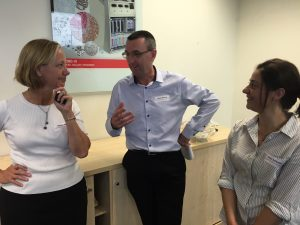 Cheryl Jekiel (left) discussing the finer points of Lean Leadership with Kevin Bennett and Vicky Schembri from the Best Practice Network