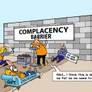 Lean culture complacency barrier cartoon