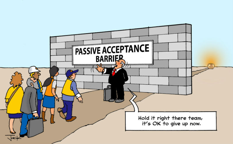 Passive acceptance Lean culture cartoon